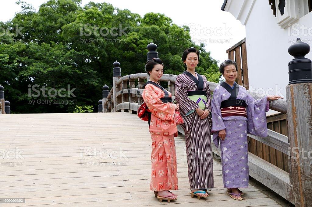 Kimono women in Edo Town stock photo