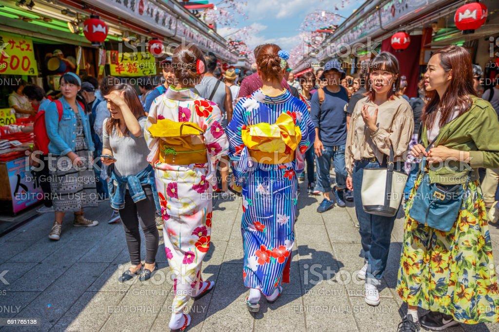 Kimono women in Nakamise-dori stock photo