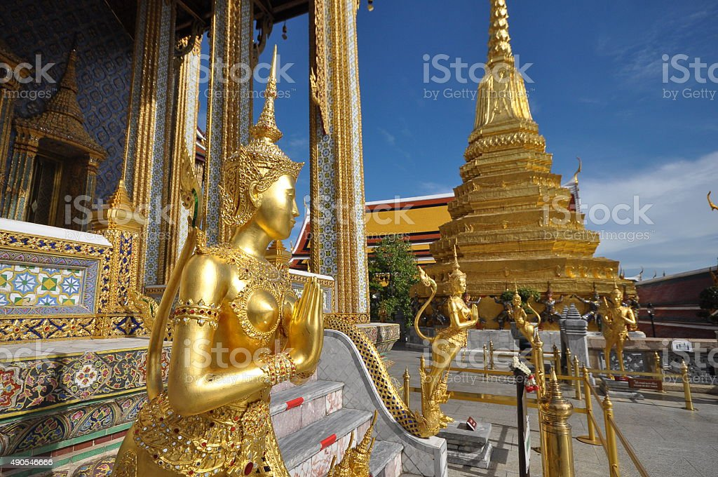 Kinare at Wat Phra Kaew in Grand Palace, Bangkok, Thailand stock photo