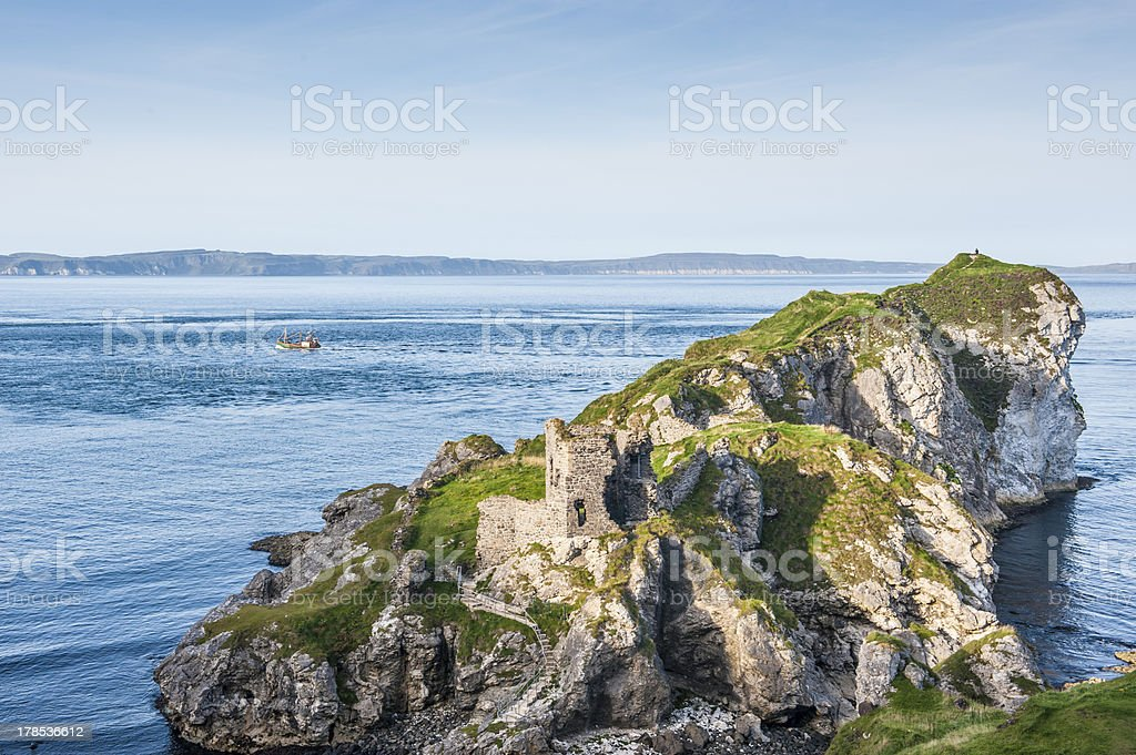 Kinbane Castle overlooking the Irish Sea royalty-free stock photo