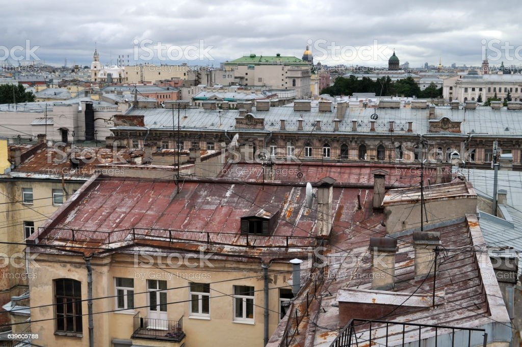 Kind from height on old part of St.-Petersburg stock photo