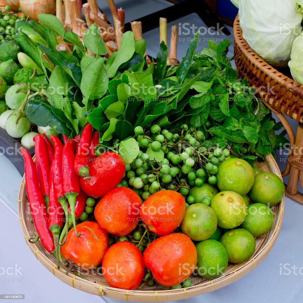 Kind of Thai vegetables set in Thai kitchen style. stock photo