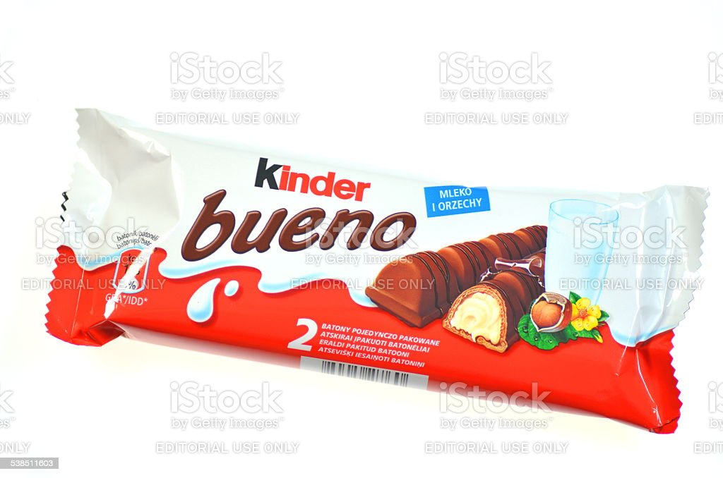 Kinder Bueno chocolate bars isolated on white background stock photo