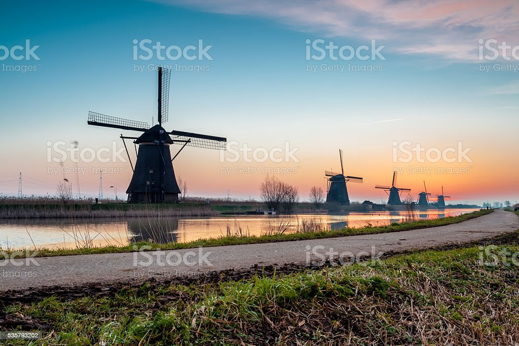 Kinderdijk in holland stock photo