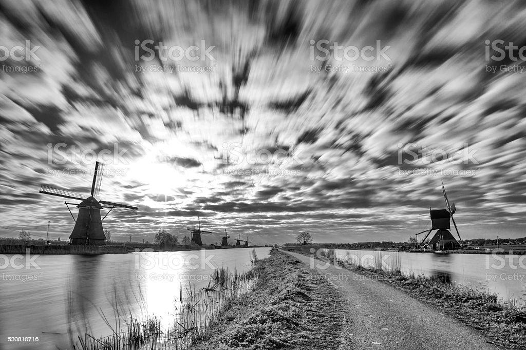 Kinderdijk Long Exposure In Black And White stock photo
