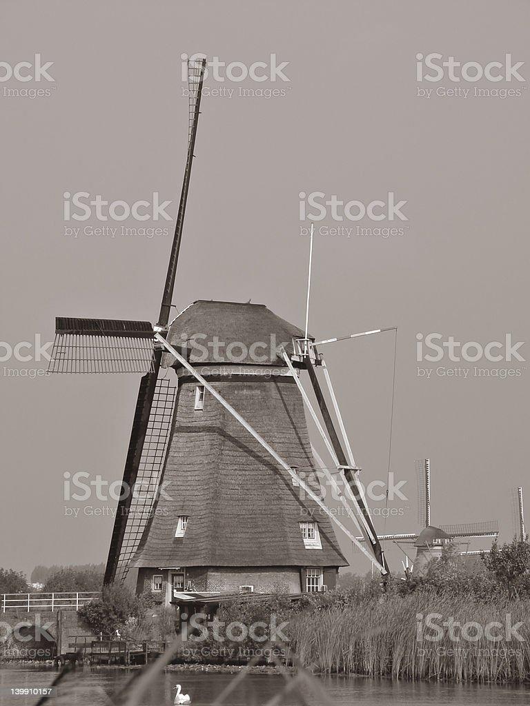 Kinderdijk mill stock photo