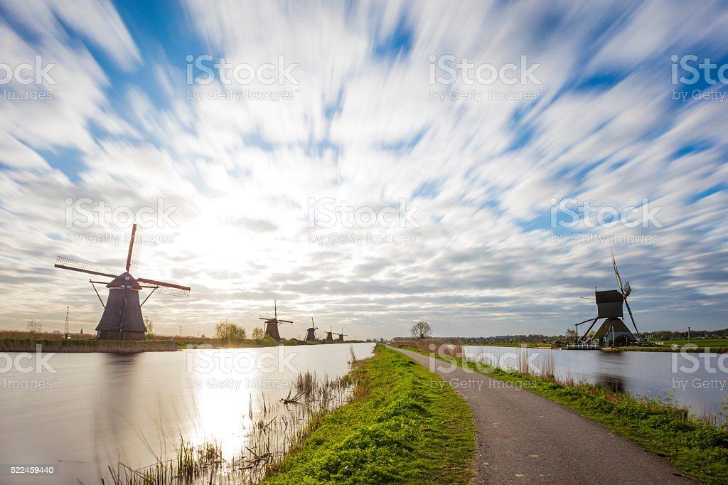 Kinderdijk Netherlands In Long Exposure stock photo