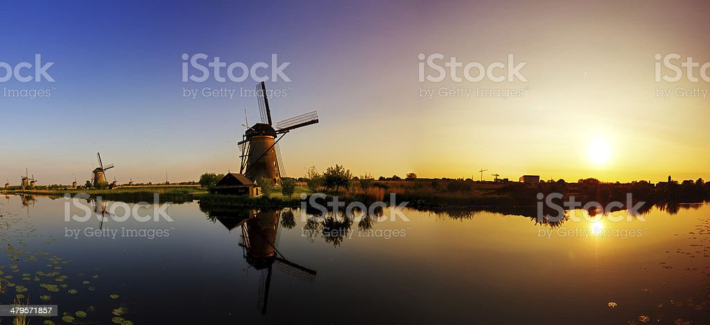 Kinderdijk panorama sunset stock photo