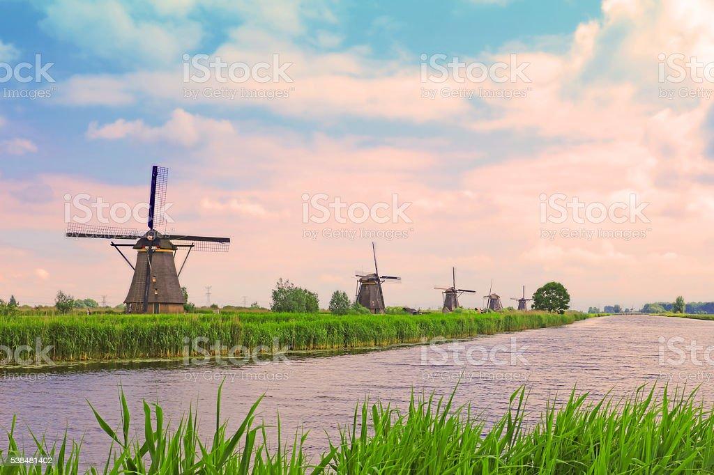 Kinderdijk Windmills in the Netherlands stock photo