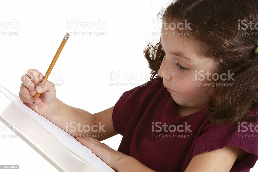 kindergardener drawing stock photo
