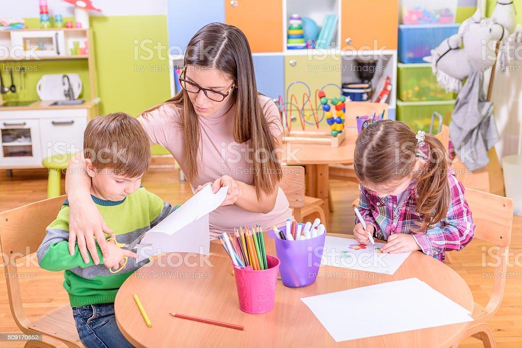 Kindergarten Arts & Crafts Activities stock photo