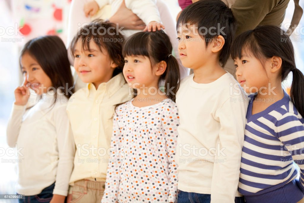 Kindergarten smiles stock photo