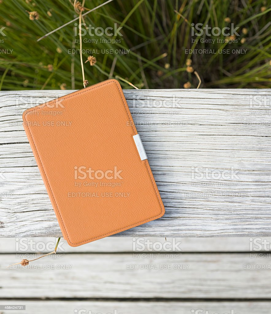 Kindle e-reader on holiday royalty-free stock photo