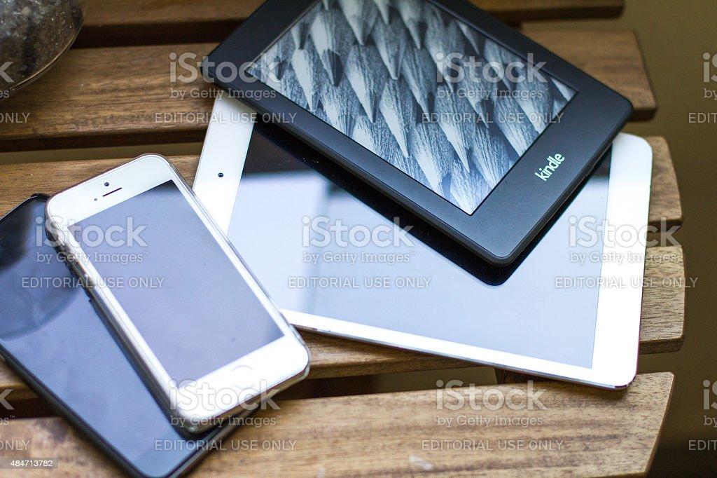 kindle ipad and iphones stock photo