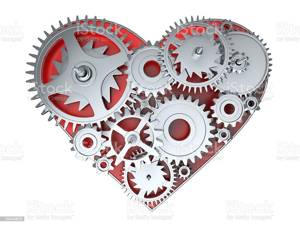 kinematic gears heart royalty-free stock photo