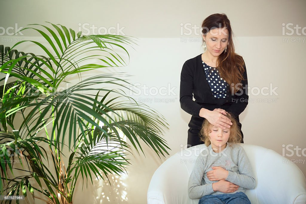 Kinesiology with child stock photo