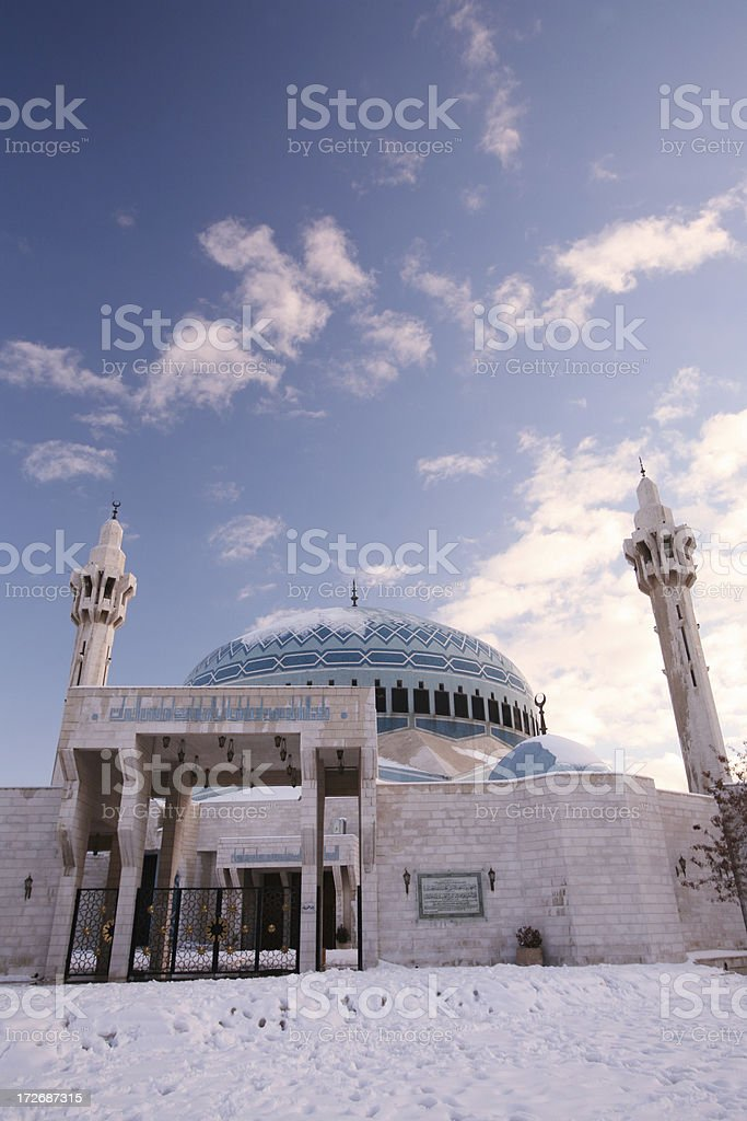 King Abdullah Mosque Amman in snowy winter stock photo