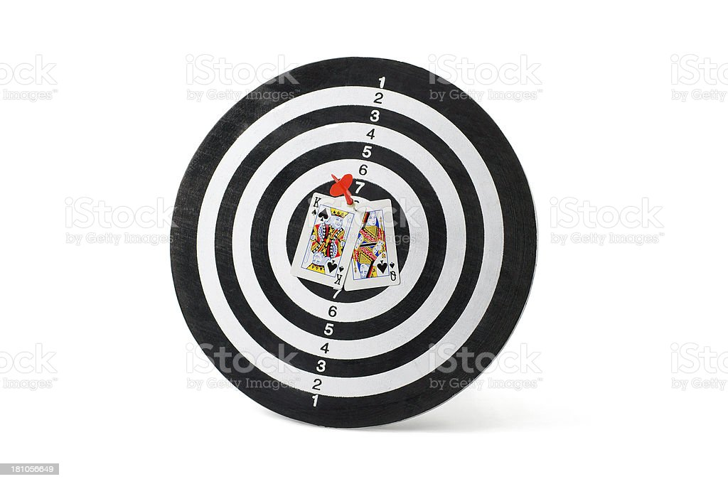 King and Queen Cards on Dartboard royalty-free stock photo