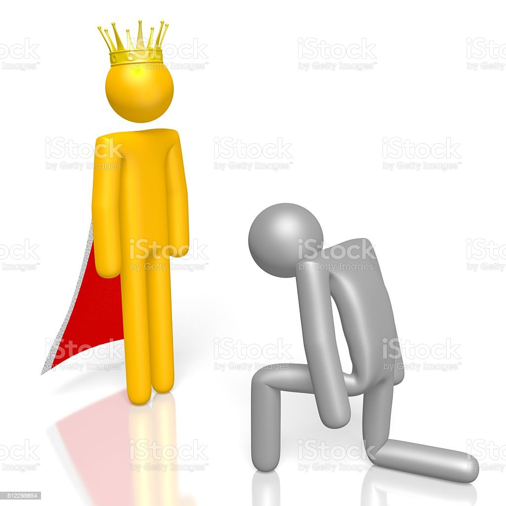 3D king and servant concept stock photo