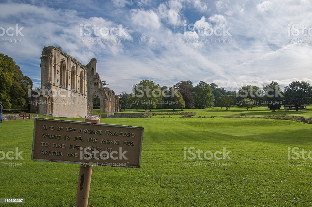 King Arthur's possible tomb site in Glastonbury stock photo