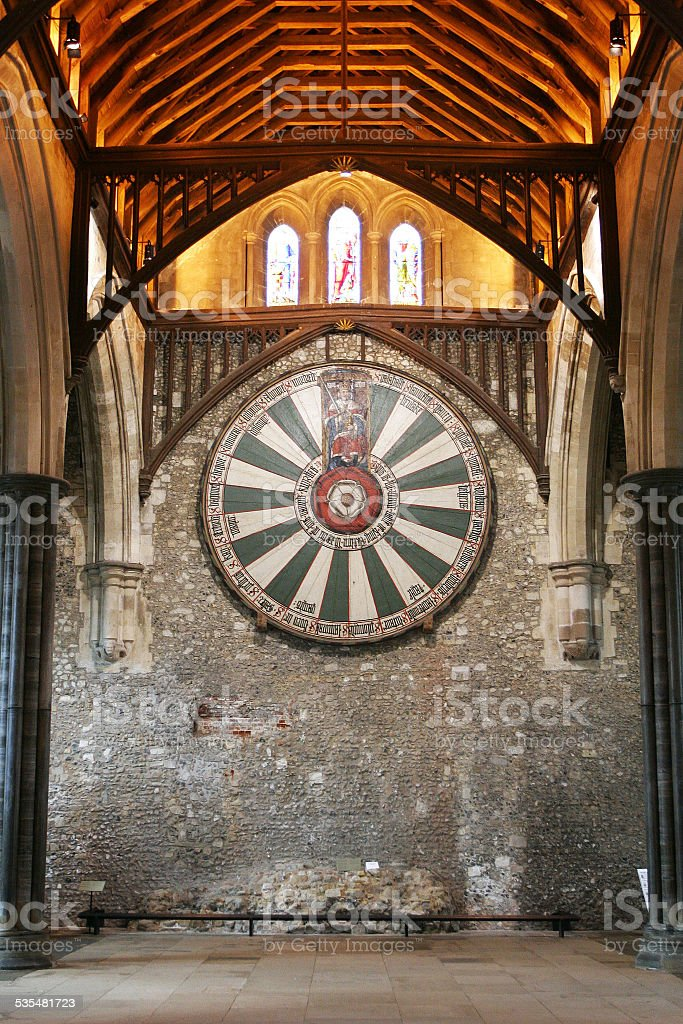 King Arthur's round table on temple wall in Winchester stock photo