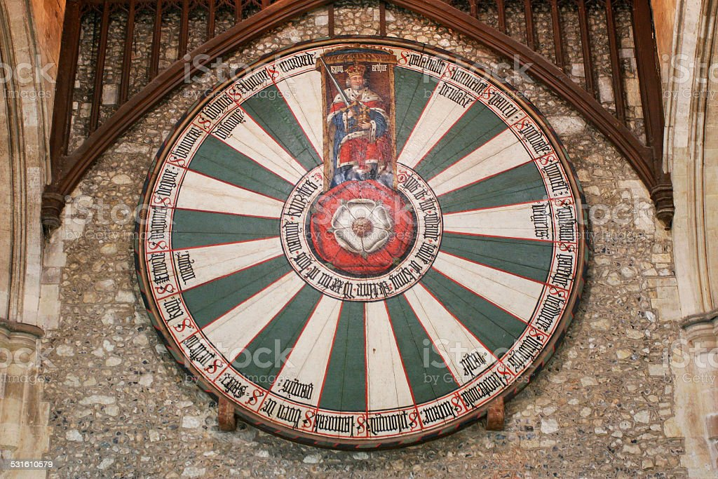 King Arthur's round table on temple wall stock photo