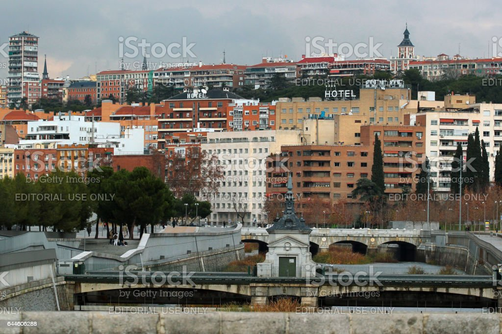 King Bridge over Manzanares river in Madrid, Spain stock photo