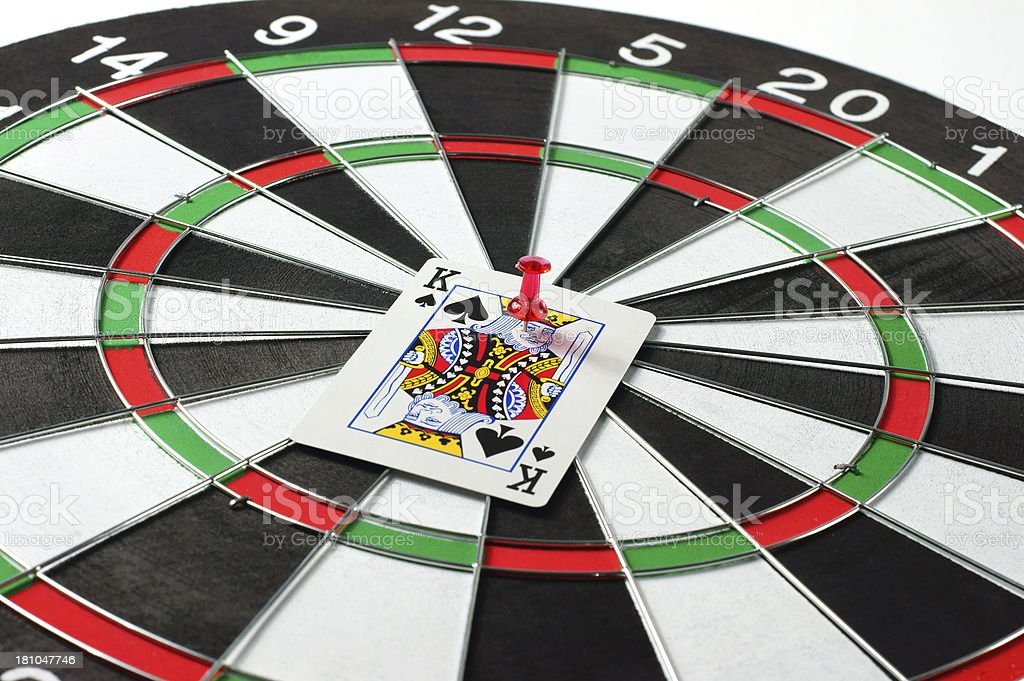 King Card on Dartboard royalty-free stock photo
