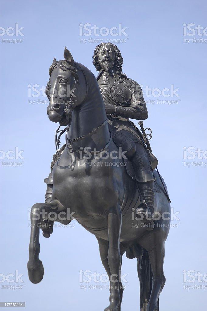 King Charles I statue, Trafalgar Square, London stock photo