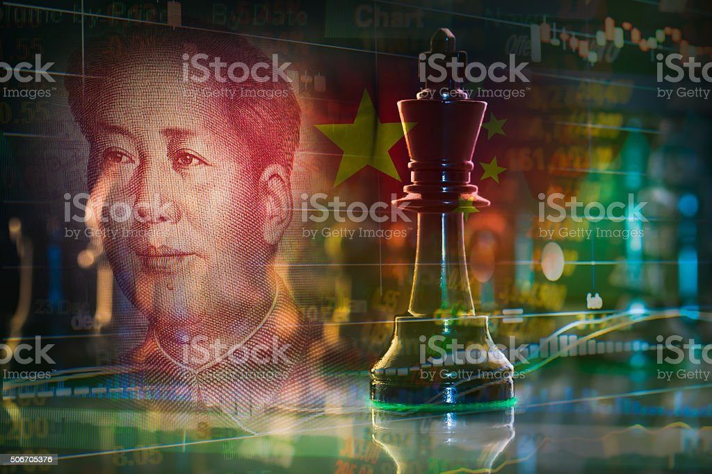 king chess merge with china stock market concept stock photo