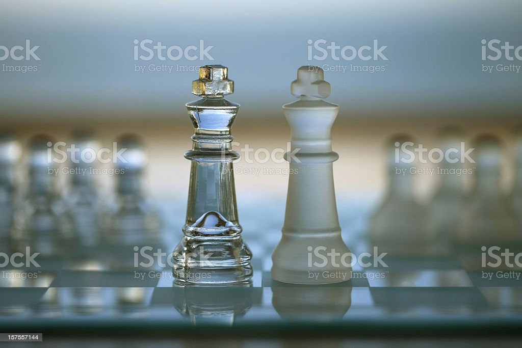 King Chess Pieces as Business Concept: competition, merger, team, leadership. stock photo