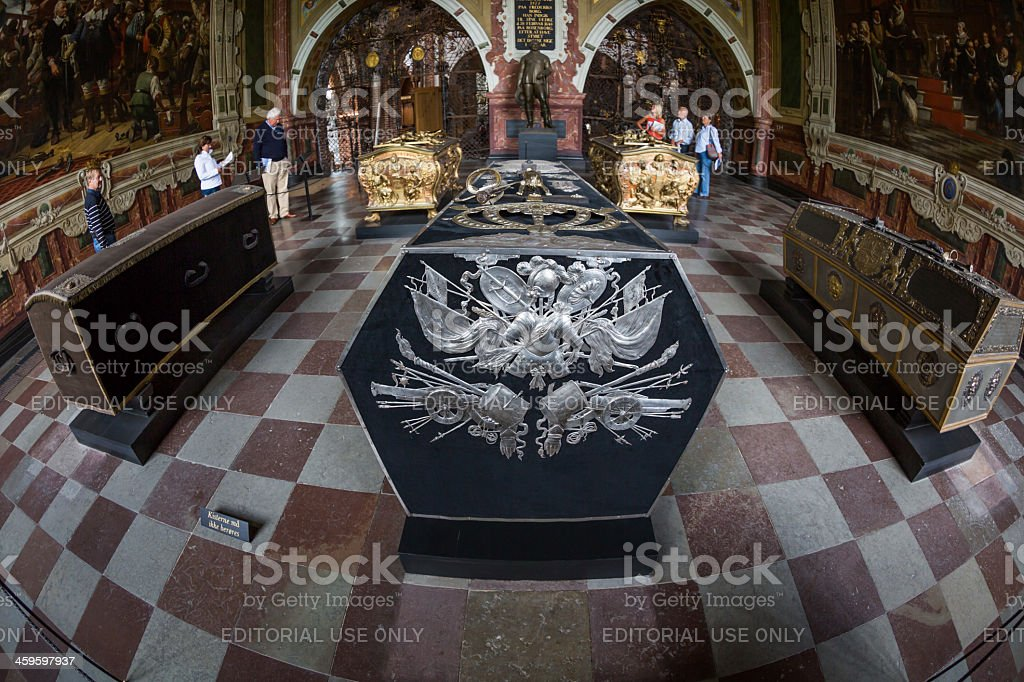 King Christan IV's sarcophagus, Roskilde Cathedral, Denmark stock photo