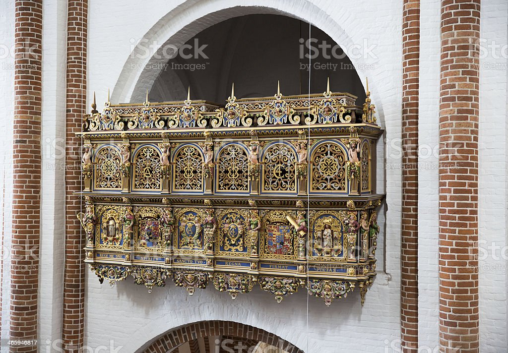 King Christian IV beautifully ornamented private box, Roskilde cathedral stock photo