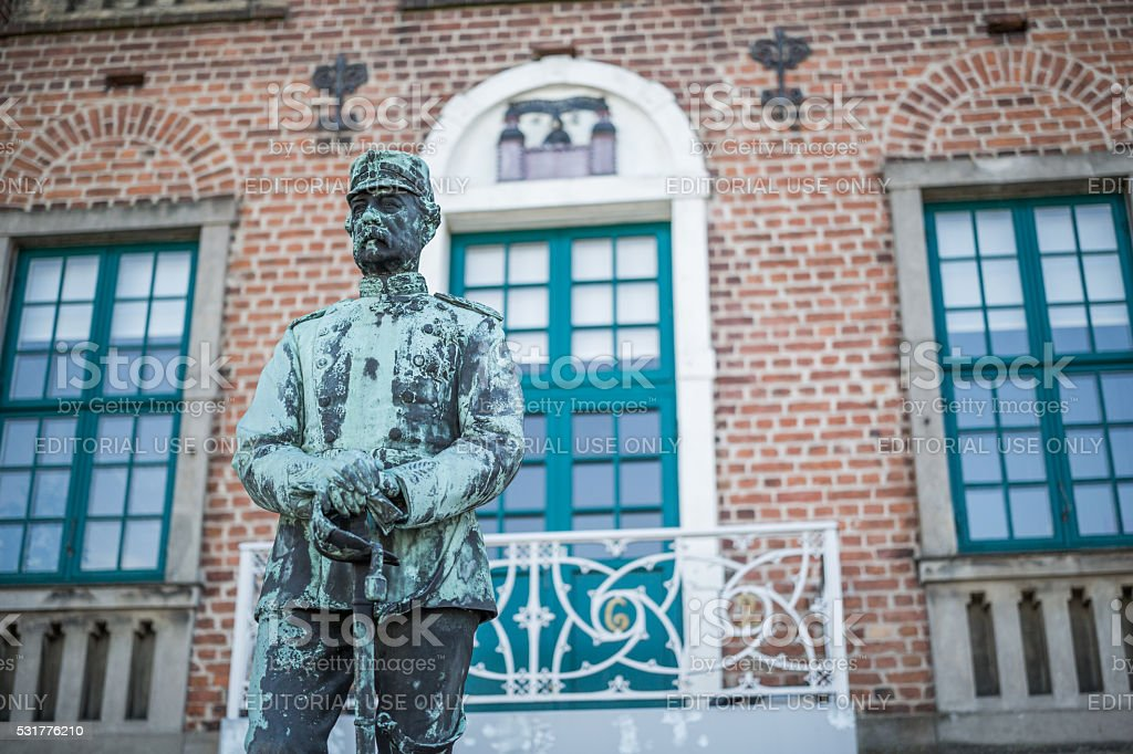 King Christian IX before the old town hall, Nyborg, Denmark stock photo