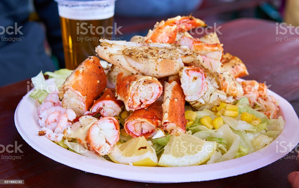 King Crab and salad in Bergen stock photo