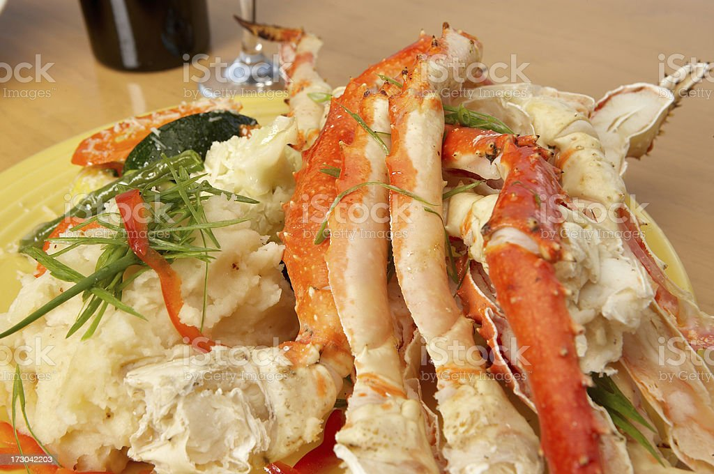 King crab legs dinner plate close up stock photo