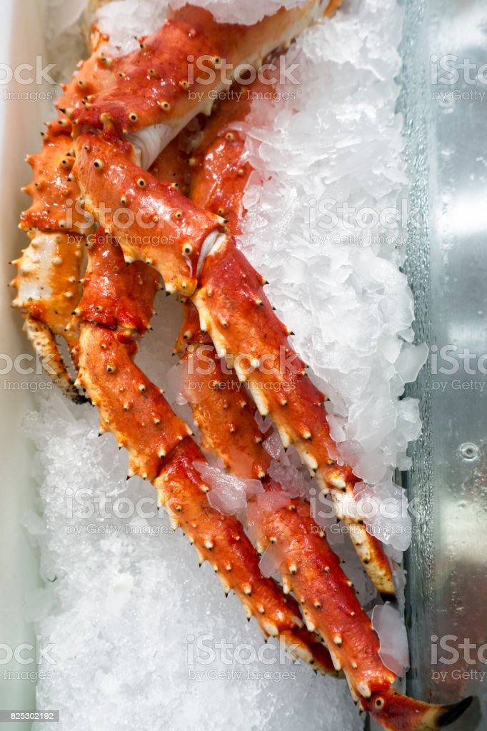 King Crab Legs on crushed ice stock photo