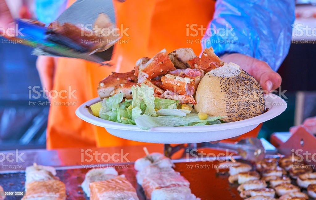 King crab with salad stock photo