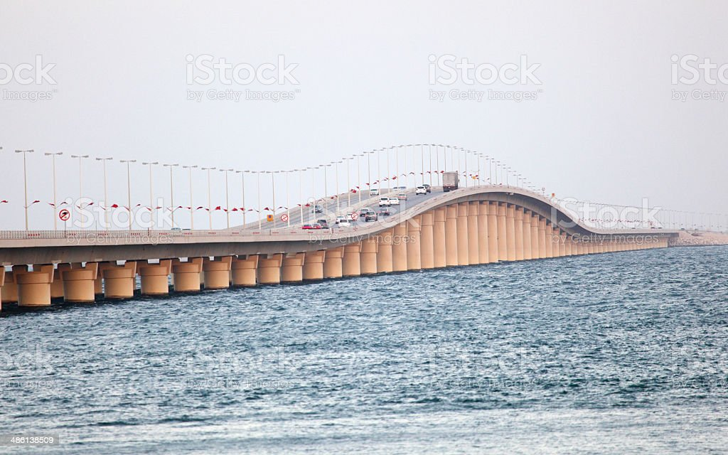 King Fahd Causeway over the Gulf of Bahrain royalty-free stock photo