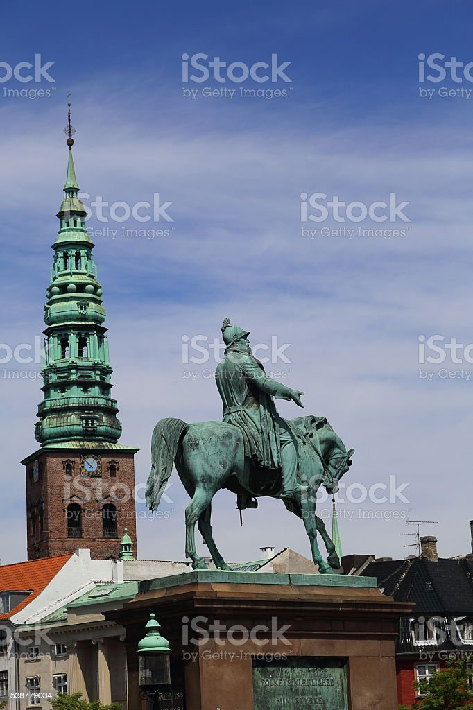 King Frederik 7th equestrian statue at the Denmark Parliament stock photo
