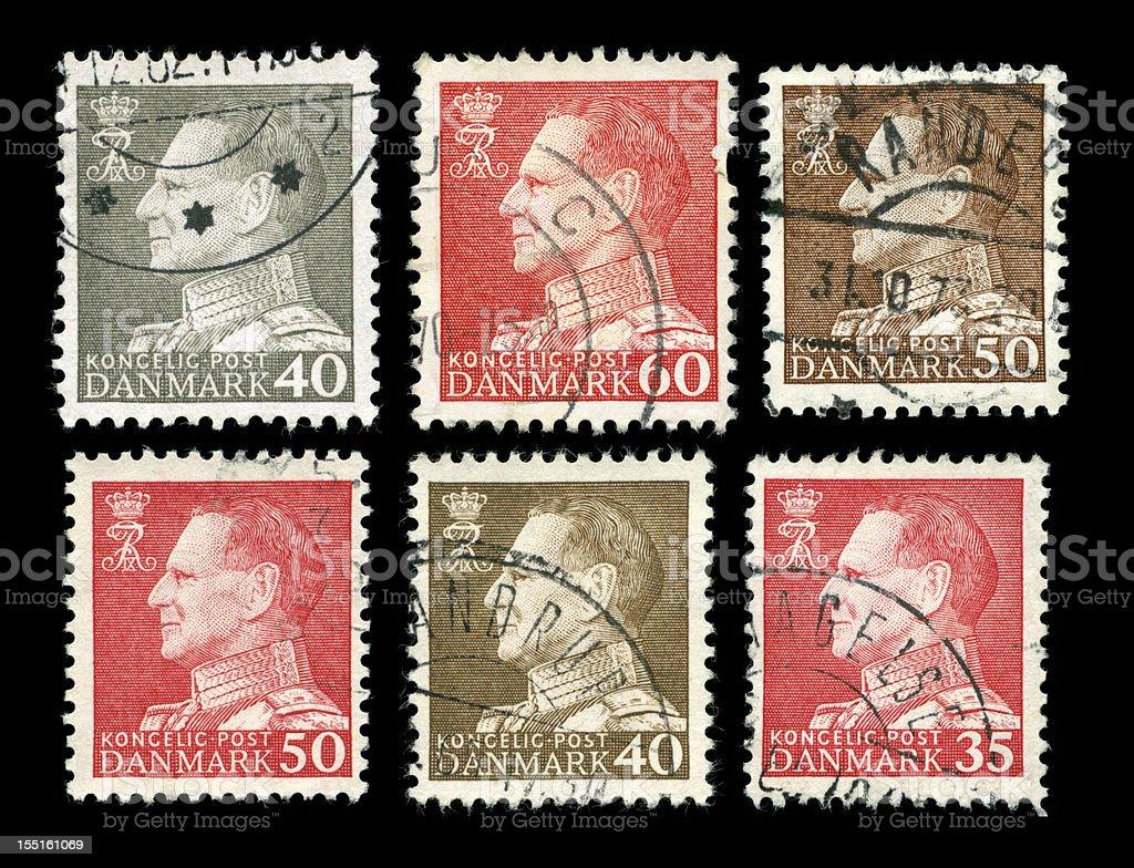King Frederik IV stamps of Denmark stock photo