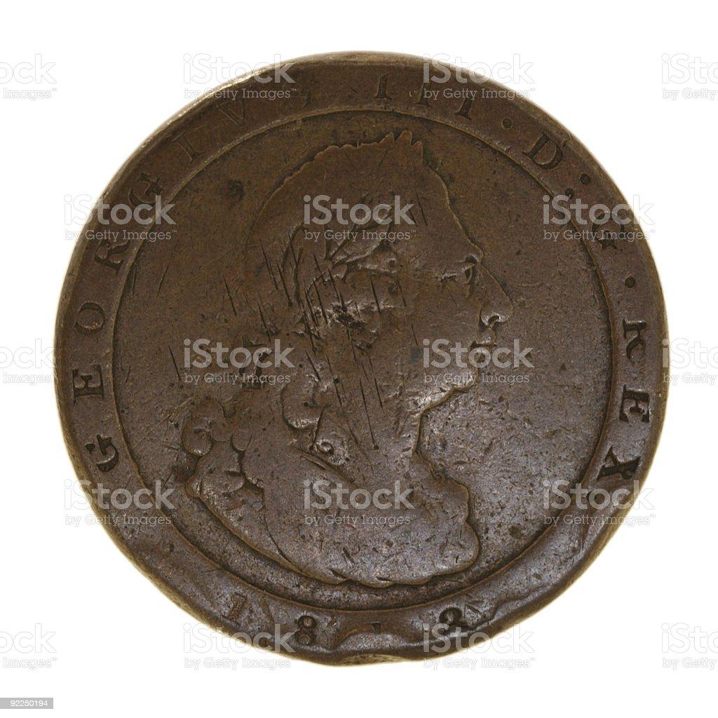King George III British Penny Coin - economic history stock photo