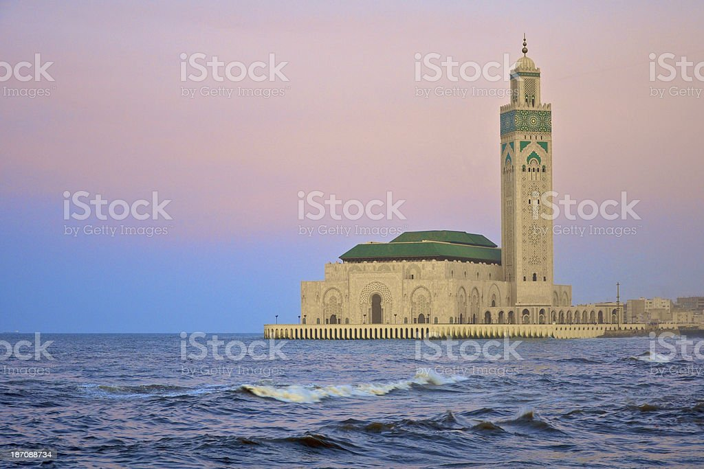 King Hassan II mosque in Casablanca at dusk stock photo
