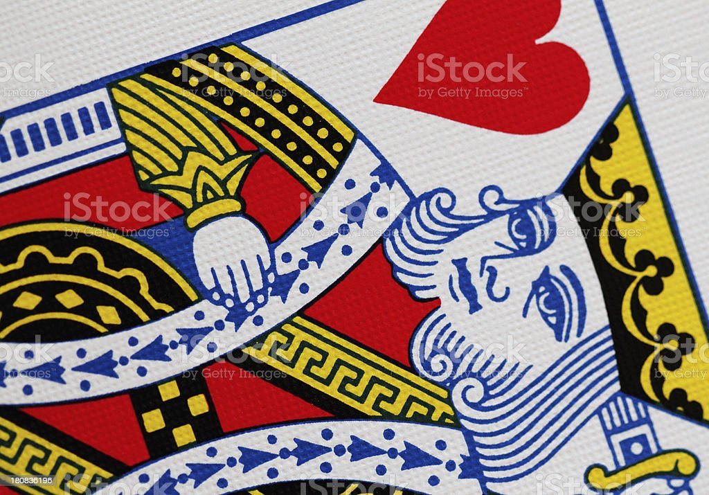 King Heart Playing Card Close Up royalty-free stock photo