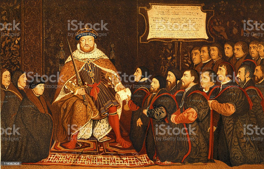 King Henry VIII Presents Charter to Barber-Surgeons stock photo