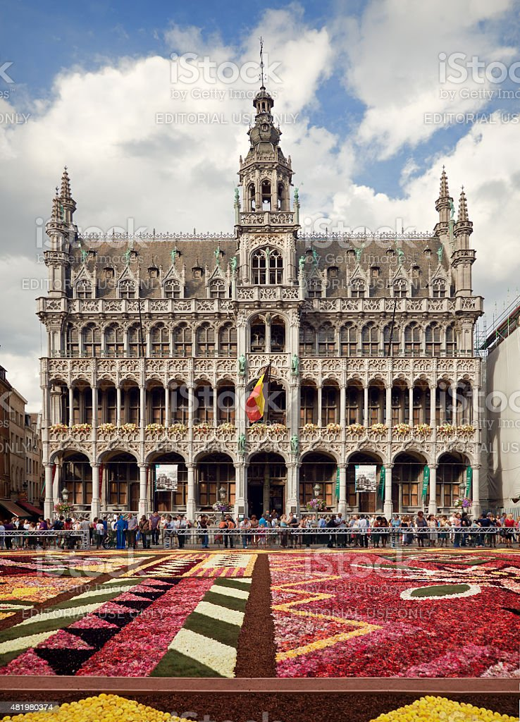 King House in Grand Place of Brussels Behind Flower Carpet stock photo