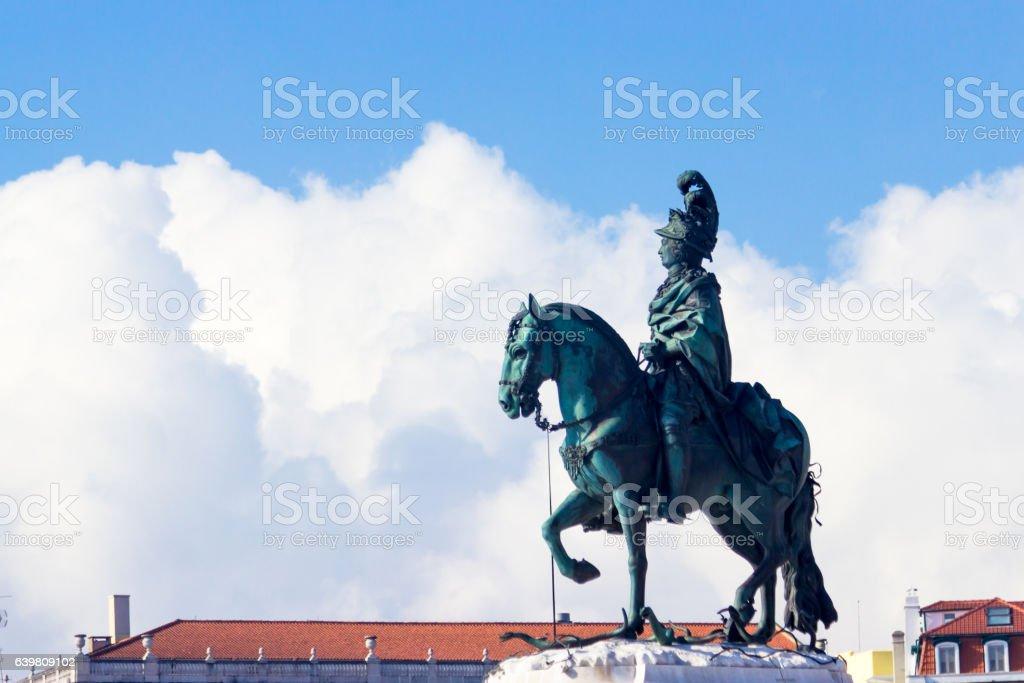 King Joseph statue, Commerce square, Lisbon, Portugal stock photo