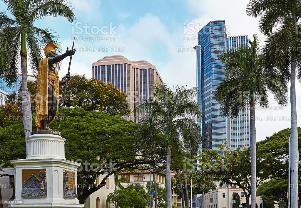 King Kamehameha Statue Downtown Honolulu Hawaii stock photo