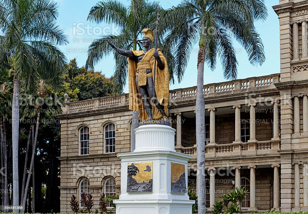 King Kamehameha Statue Honolulu Hawaii landmark stock photo