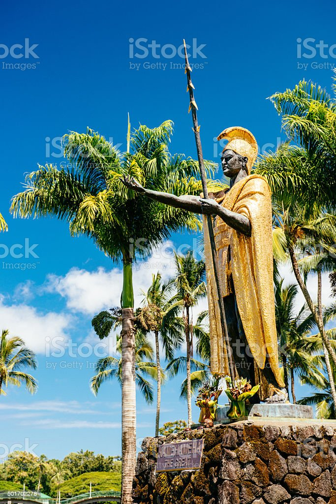 King Kamehameha Statue in Hilo Hawaii stock photo